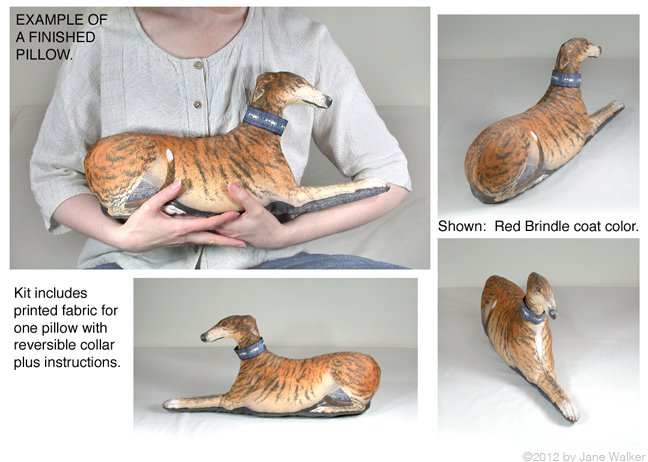 Make a                               red greyhound stuffie with this kit.