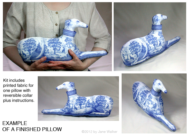 Toile                                 greyhounds in several colors available                                 as sewing projects.